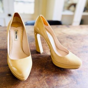 Miu Miu Nude Patent Leather Curved Heels